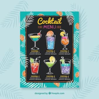 Hand drawn cocktail menu template