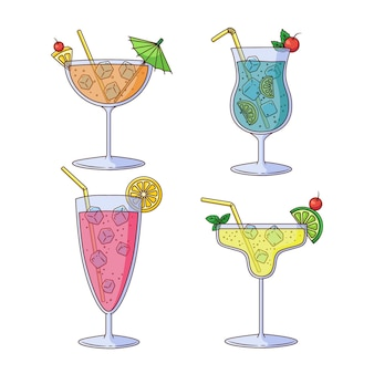 Hand drawn cocktail set
