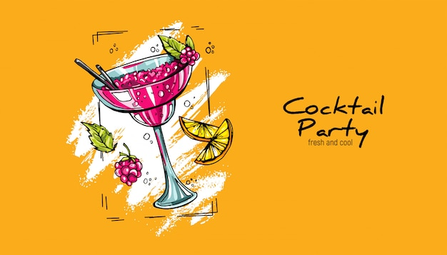 Hand-drawn cocktail