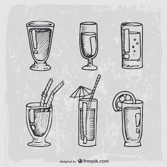 Hand drawn cocktails and alcohol drinks