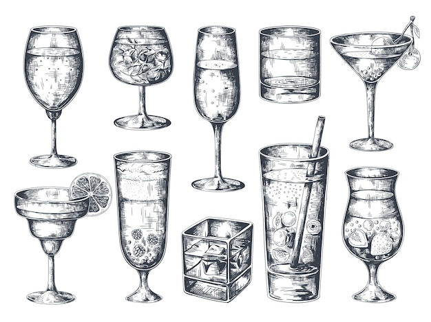 Hand drawn cocktails. glasses with alcoholic drinks tonic and lemonade, martini gin rum and tropical beverages.