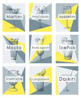Рисованные коктейли на отдельных карточках. векторные иллюстрации в стиле эскиза