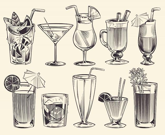 Рисованной коктейли. эскиз коктейлей и алкогольных напитков, холодных напитков разных стаканов. ресторан алкогольных напитков векторный набор