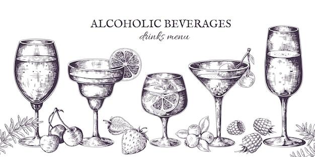 手描きのカクテル。ヴィンテージのアルコールメニューのスケッチ、リキュール飲料、レモネード。