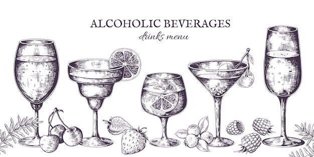 Hand drawn cocktails. vintage alcoholic menu sketch, liquor beverages and lemonades.