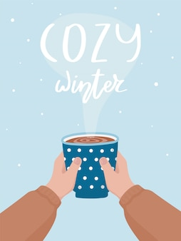 Hand drawn cocoa cup and cozy winter lettering