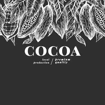 Hand drawn cocoa. vector cacao plants illustrations on chalk board. vintage natural chocolate