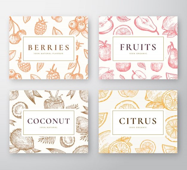 Hand drawn coconut, citrus, berries and fruits cards set. abstract  sketch backgrounds collection with classy retro typography. coconuts, cherries, lemon, apple and pear sketches.