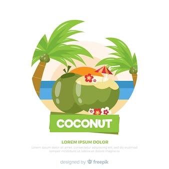 Fondo disegnato a mano del cocktail della noce di cocco