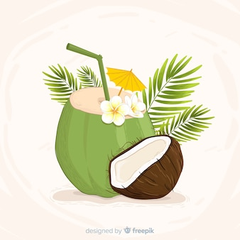 Hand drawn coconut cocktail background
