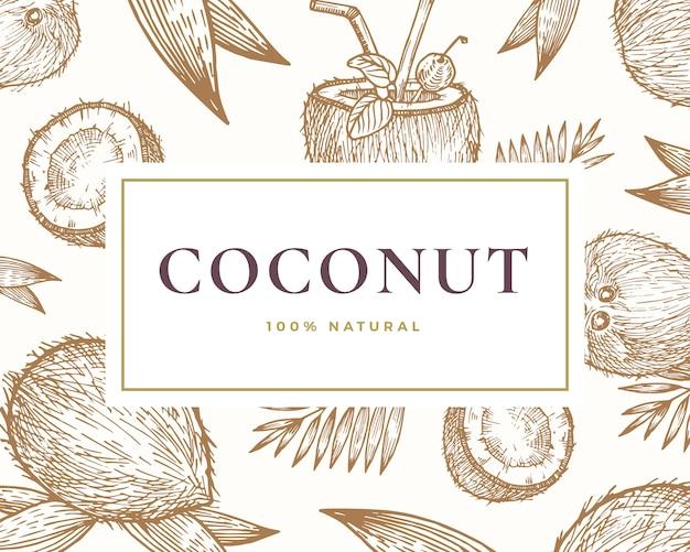 手描きのココナッツイラストカード。上品なレトロなタイポグラフィと抽象的な手描きのココナッツとヤシの葉のスケッチの背景。