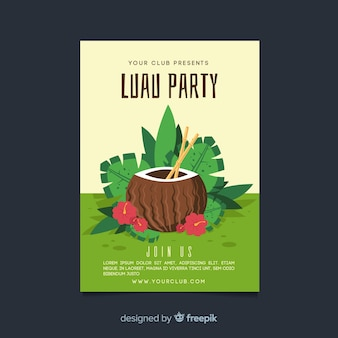 Hand drawn coconut luau party poster template