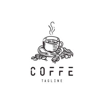 Ручной обращается логотип кофе в стиле ретро