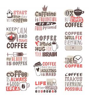 손으로 그린 커피 배지.