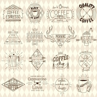 Hand drawn coffee badges