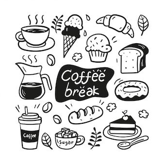 Рисованной кофе-брейк каракули иллюстрации