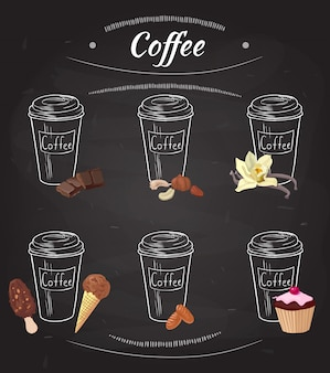 Коллекция рисованной кофе