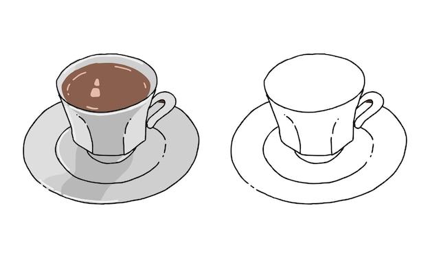 子供のための手描きのコーヒーぬりえ