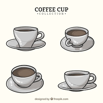 Hand drawn coffee cup collection with different views