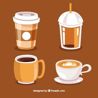 Collezione disegnata a mano della tazza di caffè