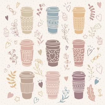 花のイラストと手描きのコーヒーカップセット