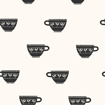 손으로 그린된 커피 컵 원활한 패턴