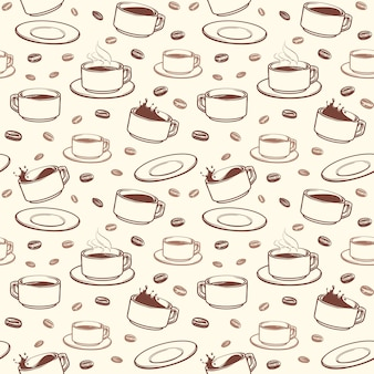 Hand drawn coffee cups vector seamless pattern
