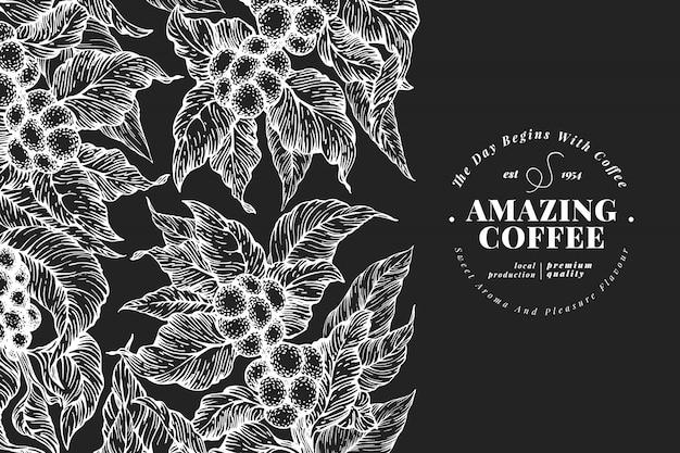 손으로 그린 된 커피 디자인 서식 파일입니다. 분필 보드에 벡터 커피 식물 삽화입니다. 빈티지 천연 커피 배경