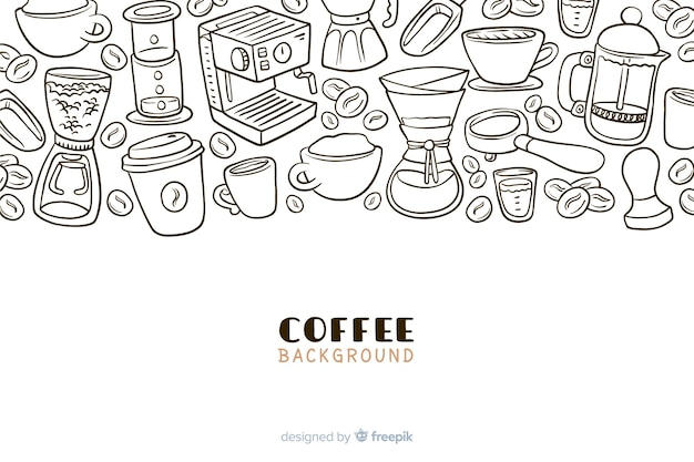 Hand drawn coffee drink background
