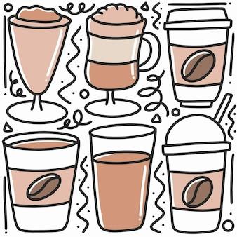 Рисованной каракули кофейного напитка с иконками и элементами дизайна