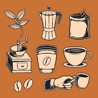 손으로 그린 커피 요소