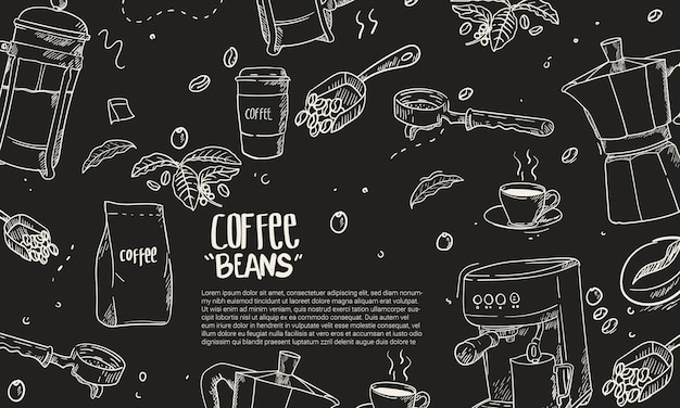 Hand drawn coffee equipment composition background