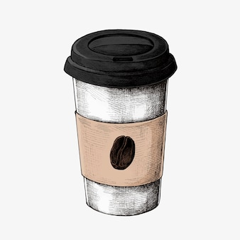 Hand drawn coffee to go cup