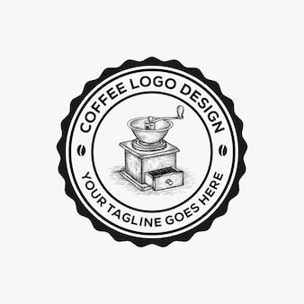 Hand drawn coffee grinder logo design inspiration