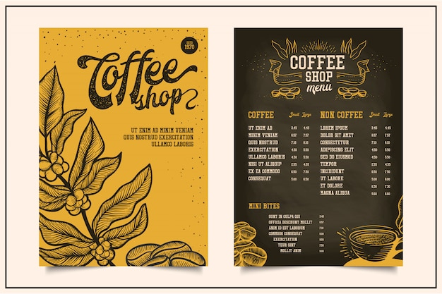 Hand drawn coffee menu Premium Vector