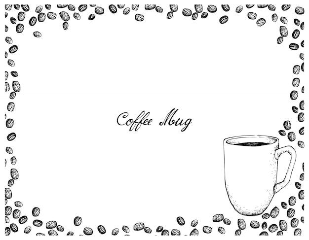 Hand drawn of coffee mug with roasted coffee beans