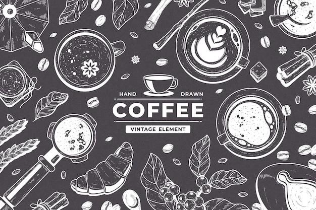검은 칠판에 손으로 그린 커피