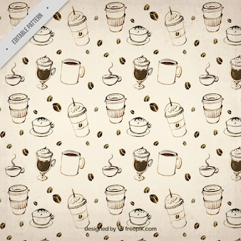 Hand drawn coffee pattern in vintage style
