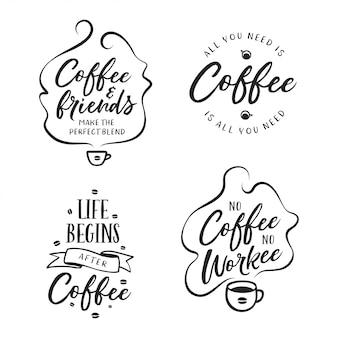 手描きのコーヒー関連の引用符セット。ベクトルビンテージイラスト。