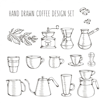 Hand drawn coffee related set