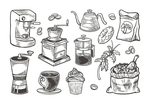 ヴィンテージ彫刻スタイルの手描きコーヒーセット