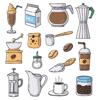 Hand drawn coffee shop icons