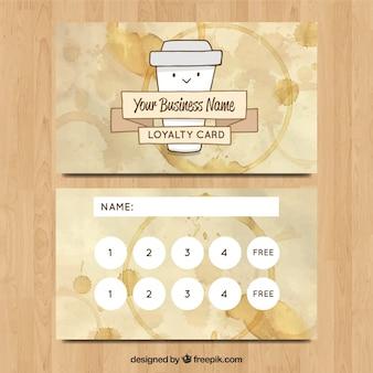 手描きのコーヒーショップのロイヤルティカードテンプレート