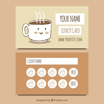 Hand drawn coffee shop loyalty card template