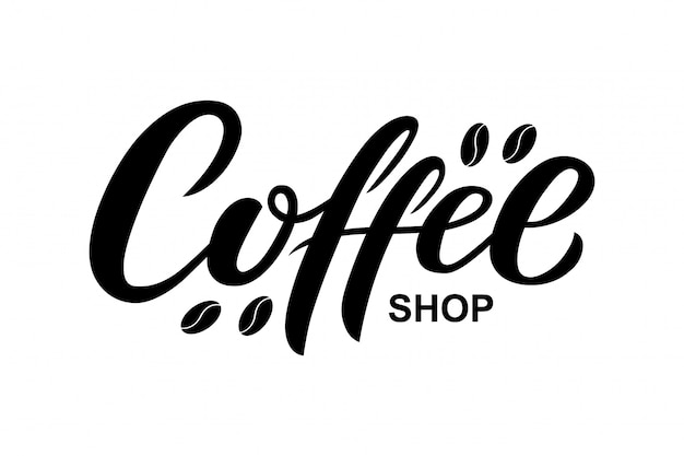 Hand drawn coffee shop text