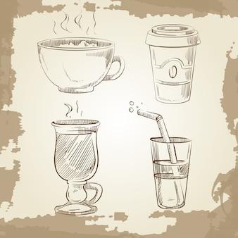 손으로 그린 커피 차와 레모네이드