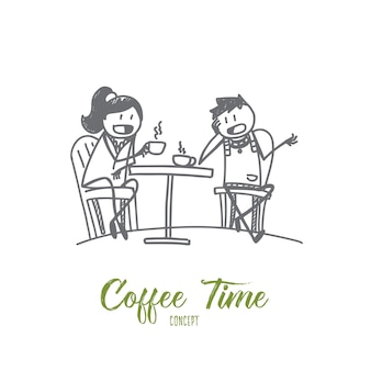 Hand drawn coffee time concept sketch illustration