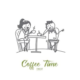 手描きコーヒータイムコンセプトスケッチイラスト