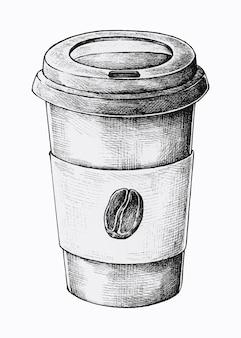 カップに行くために手描きのコーヒー