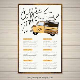 Hand drawn coffee truck menu
